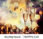 two champagne glasses against... | Shutterstock . vector #760991110