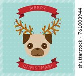 merry christmas greeting card... | Shutterstock .eps vector #761003944