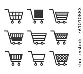 shopping cart icons set on... | Shutterstock .eps vector #761010883