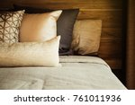 bed maid up with clean white... | Shutterstock . vector #761011936
