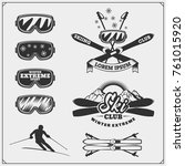 set of winter sports emblems ... | Shutterstock .eps vector #761015920