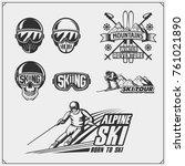 set of winter sports emblems ... | Shutterstock .eps vector #761021890