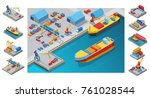 isometric sea port template... | Shutterstock .eps vector #761028544