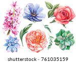 watercolor hand drawing ... | Shutterstock . vector #761035159