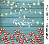 christmas poster with candy... | Shutterstock .eps vector #761037919