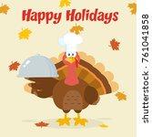 turkey chef cartoon mascot...   Shutterstock .eps vector #761041858