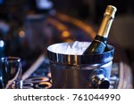 champagne bottle in an ice... | Shutterstock . vector #761044990