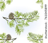 seamless texture pine tree and... | Shutterstock .eps vector #761045899