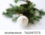 christmas tree and handmade toy ... | Shutterstock . vector #761047273