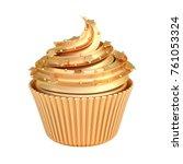 golden cupcake isolated on...   Shutterstock . vector #761053324