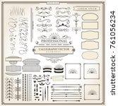calligraphic retro flourishes... | Shutterstock .eps vector #761056234