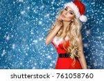 beautiful sexy blonde female... | Shutterstock . vector #761058760