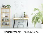 grey chair at desk against...   Shutterstock . vector #761063923
