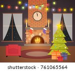 christmas living room. night... | Shutterstock .eps vector #761065564