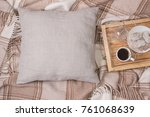 natural color linen pillow ... | Shutterstock . vector #761068639