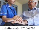 nurse talking with senior man... | Shutterstock . vector #761069788