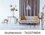 bright sofa with yellow... | Shutterstock . vector #761074804