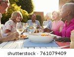 group of senior friends... | Shutterstock . vector #761079409
