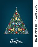 christmas tree.  golden  red ...   Shutterstock .eps vector #761083240