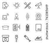 thin line icon set   touch ... | Shutterstock .eps vector #761085649