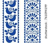 folk art seamless pattern  ... | Shutterstock .eps vector #761094199