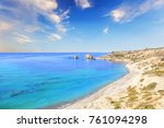 Beautiful view of the birthplace of Aphrodite in Cyprus. Petra tu Romiou, Stone of Aphrodite