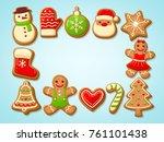 christmas gingerbread cookies... | Shutterstock .eps vector #761101438