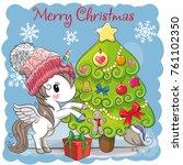 greeting card cute cartoon... | Shutterstock .eps vector #761102350