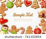 gingerbread cookies background. ... | Shutterstock .eps vector #761102854