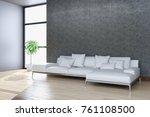 modern bright interiors. 3d... | Shutterstock . vector #761108500