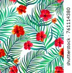 seamless hand drawn tropical... | Shutterstock .eps vector #761114380