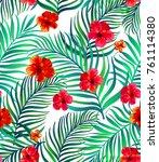 seamless hand drawn tropical... | Shutterstock .eps vector #761114380