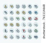 vector flat thin line icons set ... | Shutterstock .eps vector #761114668