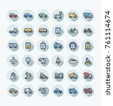 vector flat thin line icons set ... | Shutterstock .eps vector #761114674