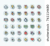 vector flat thin line icons set ... | Shutterstock .eps vector #761114680