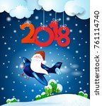 santa claus on the airplane by...   Shutterstock .eps vector #761114740