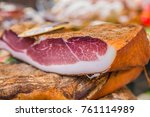 close up of prosciutto crudo or ... | Shutterstock . vector #761114989