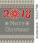 merry christmas and new year... | Shutterstock .eps vector #761117788