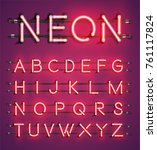 red neon character set on... | Shutterstock .eps vector #761117824