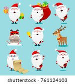 santa claus set. christmas.... | Shutterstock .eps vector #761124103