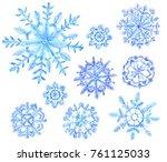 set of watercolor snowflakes.... | Shutterstock . vector #761125033