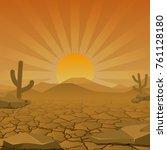 landscape of dry desert. vector.... | Shutterstock .eps vector #761128180