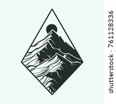 mountain and sun  engrave... | Shutterstock .eps vector #761128336