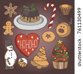 hand drawn set of christmas ... | Shutterstock .eps vector #761130499