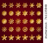 set of vector snowflakes on red ... | Shutterstock .eps vector #761135848
