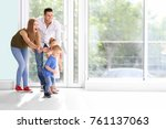 happy family in their new house   Shutterstock . vector #761137063