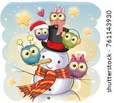 snowman in a hat and five cute... | Shutterstock .eps vector #761143930