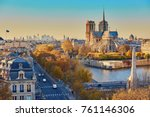 aerial panoramic cityscape view ... | Shutterstock . vector #761146306