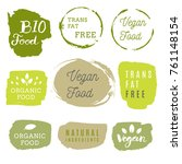 healthy food icons  labels.... | Shutterstock .eps vector #761148154