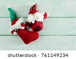 santa clause soft toys on... | Shutterstock . vector #761149234